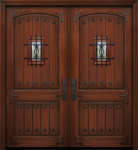 WDMA 84x96 Door (7ft by 8ft) Exterior Mahogany 42in x 96in Double 2 Panel Arch V-Groove Door with Speakeasy Straps / Clavos 1