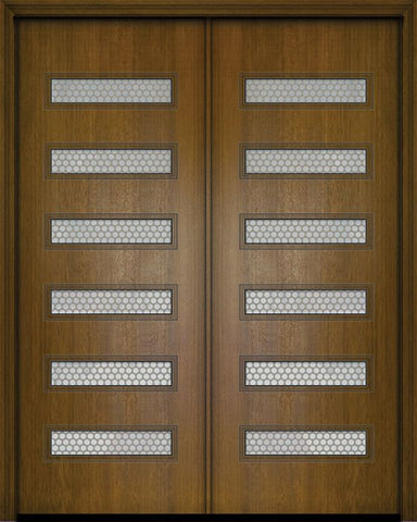 WDMA 84x96 Door (7ft by 8ft) Exterior Mahogany 42in x 96in Double Beverly Contemporary Door w/Metal Grid 1