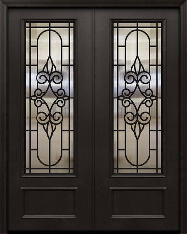 WDMA 84x96 Door (7ft by 8ft) Exterior 42in x 96in ThermaPlus Steel Salento 1 Panel 3/4 Lite GBG Double Door 1