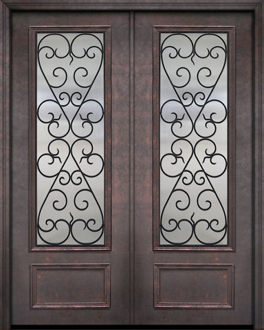 WDMA 84x96 Door (7ft by 8ft) Exterior 42in x 96in ThermaPlus Steel Palermo 1 Panel 3/4 Lite GBG Double Door 1