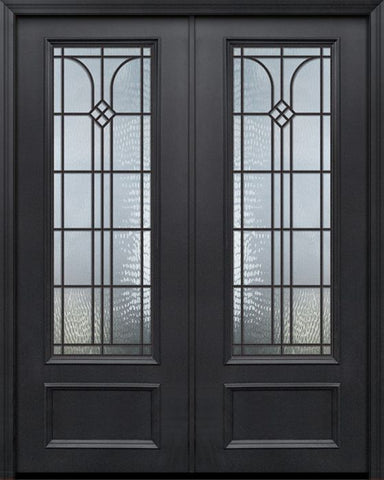 WDMA 84x96 Door (7ft by 8ft) Exterior 42in x 96in ThermaPlus Steel Cantania 1 Panel 3/4 Lite GBG Double Door 1