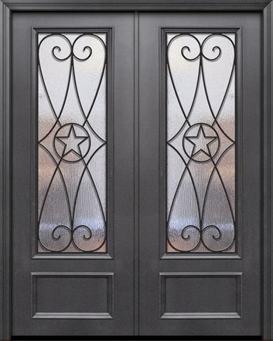 WDMA 84x96 Door (7ft by 8ft) Exterior 42in x 96in ThermaPlus Steel Austin 1 Panel 3/4 Lite GBG Double Door 1