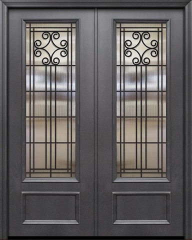 WDMA 84x96 Door (7ft by 8ft) Exterior 42in x 96in ThermaPlus Steel Novara 1 Panel 3/4 Lite GBG Double Door 1