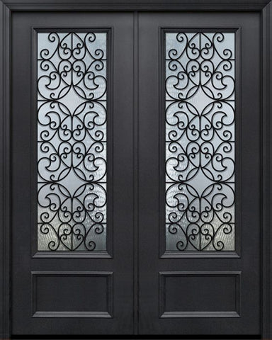 WDMA 84x96 Door (7ft by 8ft) Exterior 42in x 96in ThermaPlus Steel Florence 1 Panel 3/4 Lite GBG Double Door 1