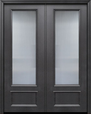 WDMA 84x96 Door (7ft by 8ft) Exterior 42in x 96in ThermaPlus Steel 3/4 Lite Privacy Glass Double Door 1