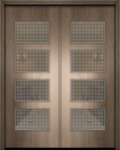 WDMA 84x96 Door (7ft by 8ft) Exterior Mahogany 42in x 96in Double Santa Monica Contemporary Door w/Metal Grid 1