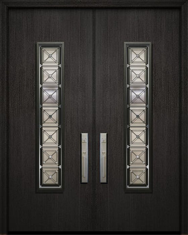 WDMA 84x96 Door (7ft by 8ft) Exterior Mahogany 42in x 96in Double Malibu Solid Contemporary Door with Speakeasy 1