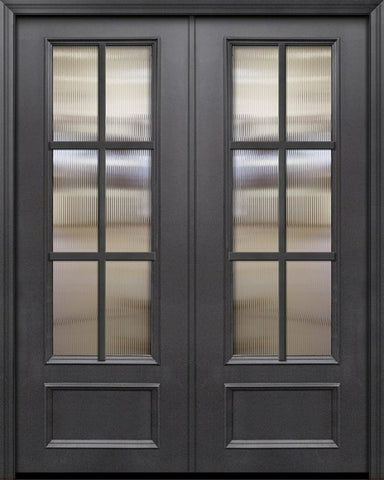 WDMA 84x96 Door (7ft by 8ft) French 42in x 96in ThermaPlus Steel 6 Lite SDL 3/4 Lite Double Door 1