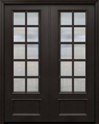 WDMA 84x96 Door (7ft by 8ft) French 42in x 96in ThermaPlus Steel 10 Lite SDL 3/4 Lite Double Door 1