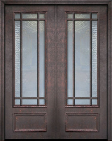 WDMA 84x96 Door (7ft by 8ft) Exterior 42in x 96in ThermaPlus Steel 9 Lite SDL 3/4 Lite Double Door 1