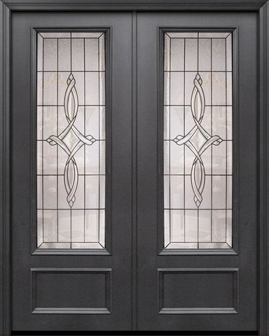 WDMA 84x96 Door (7ft by 8ft) Exterior 42in x 96in ThermaPlus Steel Marsais 1 Panel 3/4 Lite Double Door 1