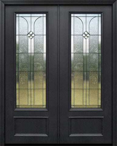 WDMA 84x96 Door (7ft by 8ft) Exterior 42in x 96in ThermaPlus Steel Cantania 1 Panel 3/4 Lite Double Door 1
