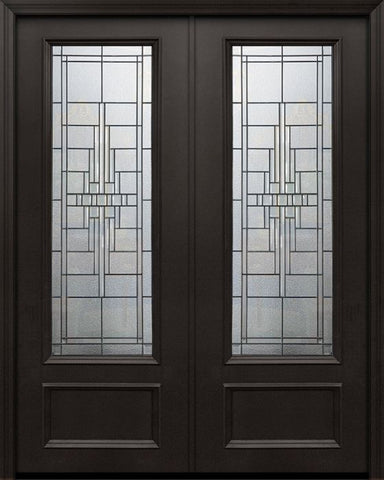 WDMA 84x96 Door (7ft by 8ft) Exterior 42in x 96in ThermaPlus Steel Remington 1 Panel 3/4 Lite Double Door 1