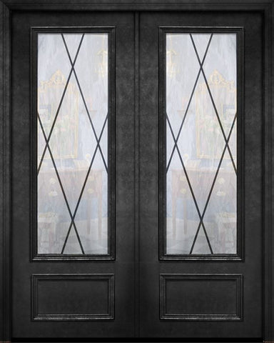 WDMA 84x96 Door (7ft by 8ft) Exterior 42in x 96in ThermaPlus Steel Sandringham 1 Panel 3/4 Lite Double Door 1