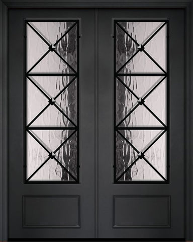 WDMA 84x96 Door (7ft by 8ft) Exterior 42in x 96in ThermaPlus Steel Republic 1 Panel 3/4 Lite Double Door 1