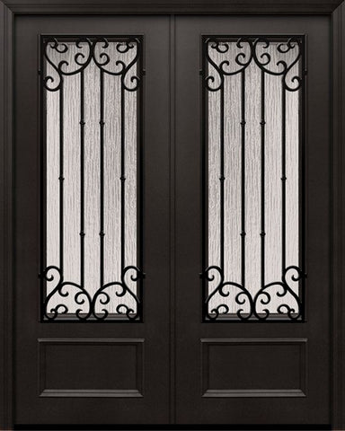 WDMA 84x96 Door (7ft by 8ft) Exterior 42in x 96in ThermaPlus Steel Valencia 1 Panel 3/4 Lite Double Door 1