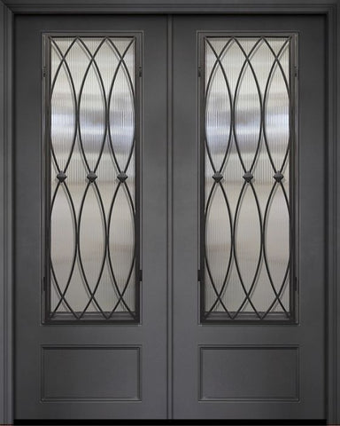 WDMA 84x96 Door (7ft by 8ft) Exterior 42in x 96in ThermaPlus Steel La Salle 1 Panel 3/4 Lite Double Door 1