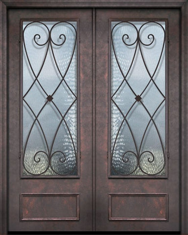 WDMA 84x96 Door (7ft by 8ft) Exterior 42in x 96in ThermaPlus Steel Charleston 1 Panel 3/4 Lite Double Door 1