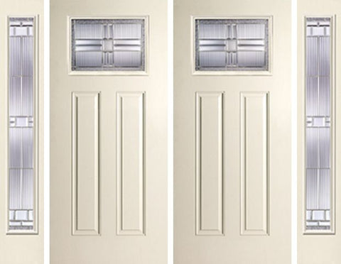WDMA 88x80 Door (7ft4in by 6ft8in) Exterior Smooth SaratogaTM Craftsman Lite 2 Panel Star Double Door 2 Sides 1