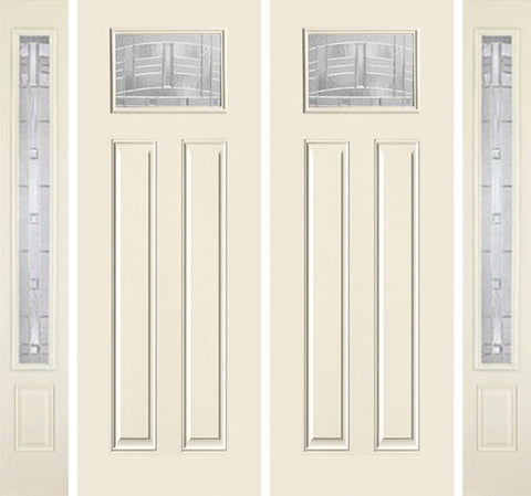 WDMA 88x96 Door (7ft4in by 8ft) Exterior Smooth MaplePark 8ft Craftsman Lite 2 Panel Star Double Door 2 Sides 1