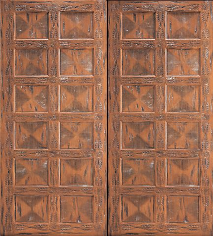 WDMA 96x120 Door (8ft by 10ft) Exterior Mahogany Santa Fe Style Hand Carved Double Doors in  1