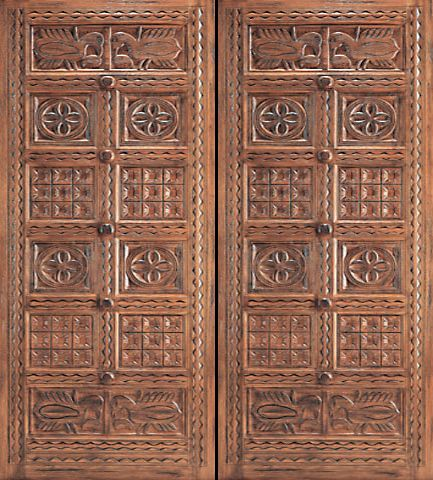 WDMA 96x120 Door (8ft by 10ft) Exterior Mahogany Indian Style Hand Carved Double Door 1