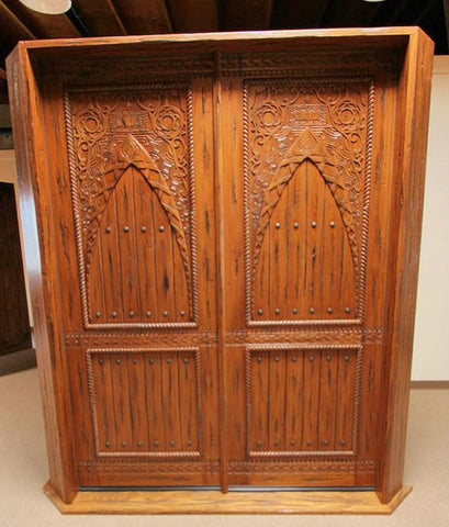 WDMA 96x120 Door (8ft by 10ft) Exterior Mahogany Moroccan Style Hand Carved Double Door 4