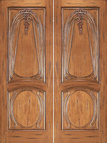 WDMA 96x120 Door (8ft by 10ft) Exterior Mahogany AN-2013-2 Hand Carved 2-Panel Art Nouveau Double Door 1