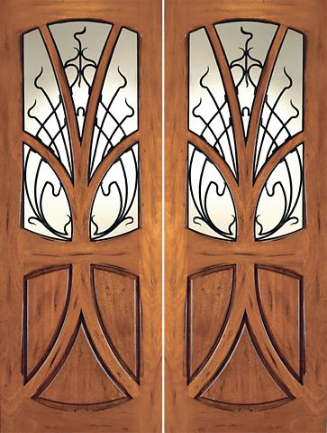 WDMA 96x120 Door (8ft by 10ft) Exterior Mahogany AN-2007-2 Tree Lite Hand Carved Art Nouveau Double Door Forged Iron 1