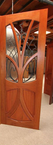 WDMA 96x120 Door (8ft by 10ft) Exterior Mahogany AN-2007-2 Tree Lite Hand Carved Art Nouveau Double Door Forged Iron 2