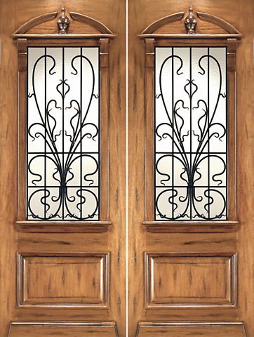 WDMA 96x120 Door (8ft by 10ft) Exterior Mahogany AN-2009-2 Hand Carved Art Nouveau Forged Iron Glass Double Door 1