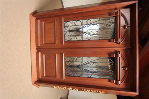 WDMA 96x120 Door (8ft by 10ft) Exterior Mahogany AN-2009-2 Hand Carved Art Nouveau Forged Iron Glass Double Door 2
