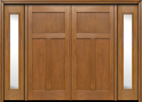 WDMA 96x80 Door (8ft by 6ft8in) Exterior Fir Craftsman 3 Panel Double Entry Door Sidelights 1