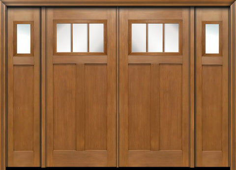 WDMA 96x80 Door (8ft by 6ft8in) Exterior Fir Craftsman Top 3 Lite Double Entry Door Sidelights 1