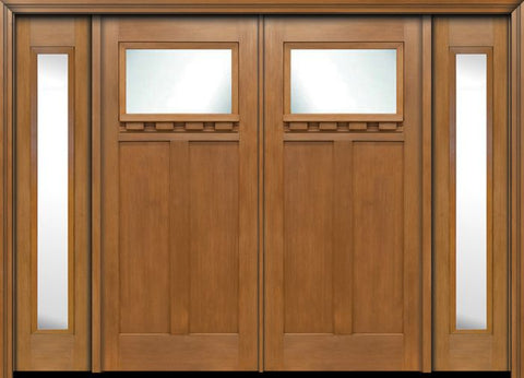 WDMA 96x80 Door (8ft by 6ft8in) Exterior Fir Craftsman Top Lite Double Entry Door Sidelights 1
