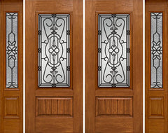 WDMA 96x80 Door (8ft by 6ft8in) Exterior Cherry Plank Panel 3/4 Lite Double Entry Door Sidelights 3/4 Lite w/ MD Glass 1