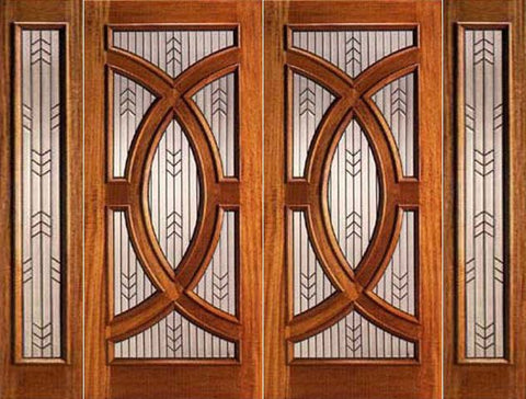 WDMA 96x96 Door (8ft by 8ft) Exterior Mahogany Double Door and Two Sidelight Triple Glazed Circle 1