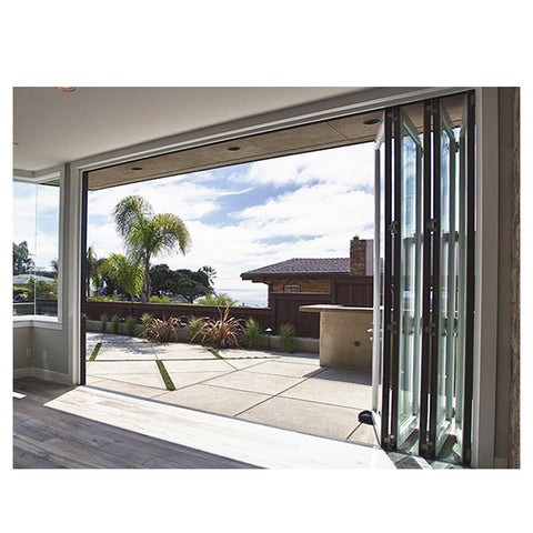 WDMA Aluminium Alloy Fashion Design Florida Approval Unbreakable Glass Folding Door With Mosquito Nets