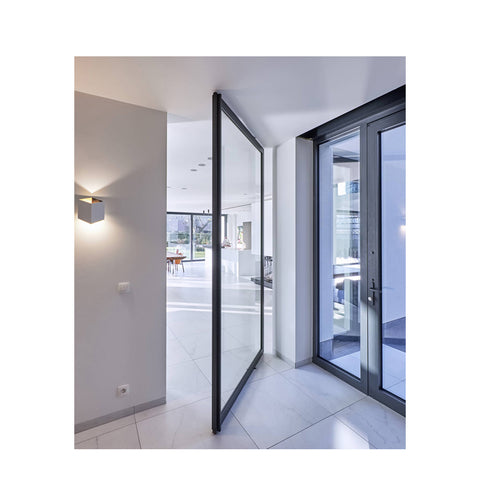 WDMA Aluminium Arch Front Laminated Oval Glass Pivot Entrance Door Design