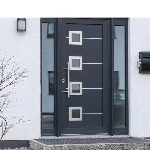 WDMA Aluminium Double Front Entry Storm Swing Glass Hinged Door With Tempered Glass Design