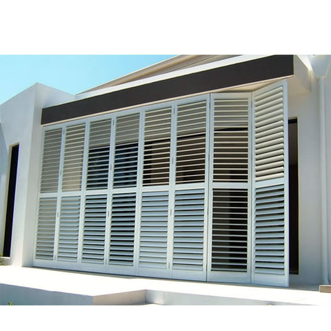 WDMA Aluminium Louvre Glass Shutters Window With Mosquito Net