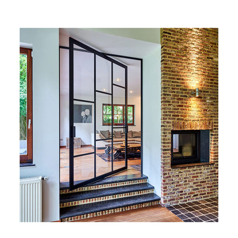 WDMA Aluminium Pivot Entry Entrance Front Glazed Glass Panel Gates Exterior Door Spring Door Design