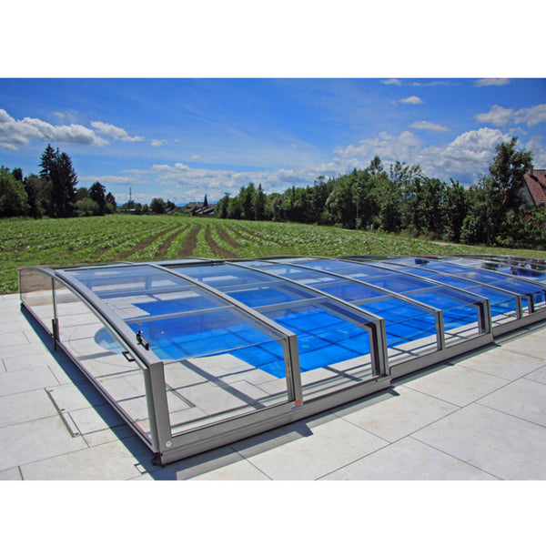WDMA Aluminum Frame Free Standing Sunroom Motorized Retractable Swming Pool Cover