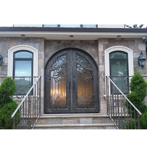 WDMA Apartment Decorate Arches Villa Entrance Iron Glass Main Door Grill Design