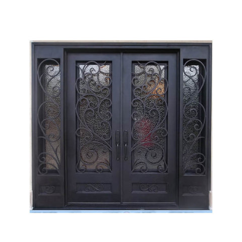 WDMA Arch Rustic Security Wrought Iron Front Entry Accordion Door And Windows With Grill