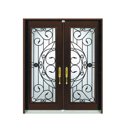 WDMA Arched Bronze Cast Iron Steel Double Front French Door For Home