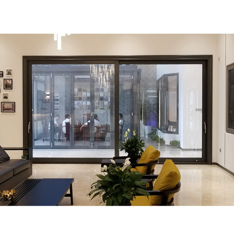 WDMA Automatic Sensor Patio Aluminum Large Tempered Glass Sliding Door System Price