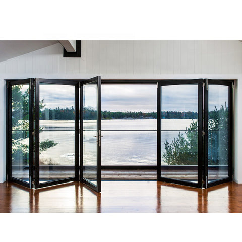 WDMA Balcony Powder Coated Aluminum Sound Proof Storefront Beveled Tempered Glass Stacking Bifold Front Door Commercial Price