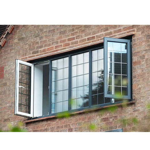 WDMA Black Aluminium Alloy Double Glazed Fixed Hinged Bay Window And Door Dubai