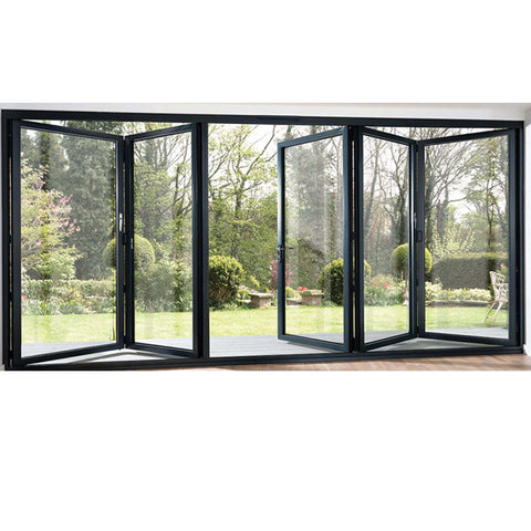 WDMA Black Five Panels Aluminium Bi-folding Door Double Glazed Exterior Bifold Door For Commercial Use